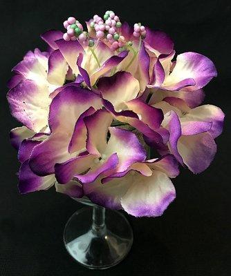 Hortensia-kukkapää, kerma/violetti
