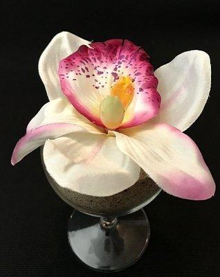 Orkidea-kukkapää, kerma/burgundy