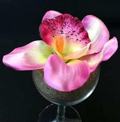 Orkidea-kukkapää, viininpunainen/vihreä