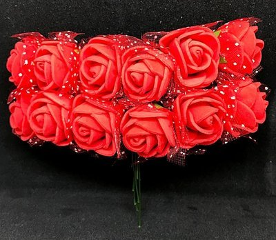 Softisruusu pieni 12kpl, punainen