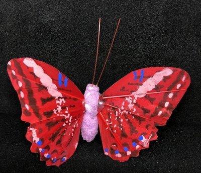 Perhonen klipsillä, punainen