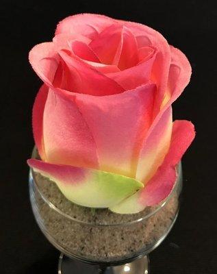 Ruusu-kukkapää, pinkki/vihreä