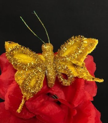 Kimalleperhonen metalliklipsillä, keltainen/kulta
