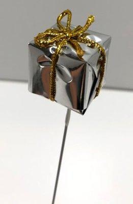 Lahjapaketti koristetikku, hopea