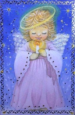 2-osainen pieni joulukortti: enkeli