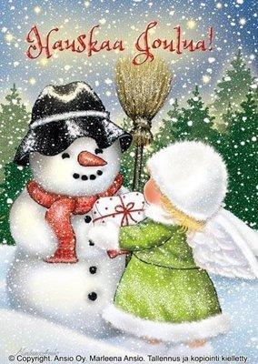 Kortti Marleena Ansio: lumiukko ja enkeli