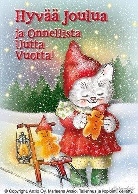 Kortti Marleena Ansio: kissa ja potkukelkka