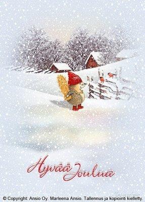 Joulukortti Marleena Ansio: siili ja kauralyhde