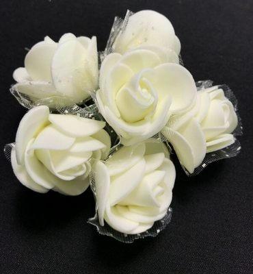 Softisruusu 6kpl, kerman valkoinen