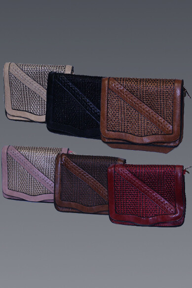 Woven Detail Front Flap Purse