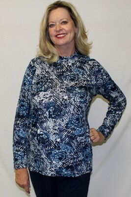 Flower Pattern Long Sleeve Pullover Top