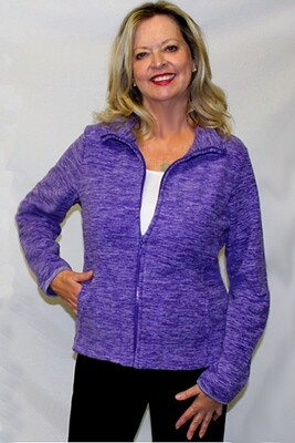 Marled  Fleece Cardigan Sweater with Pockets