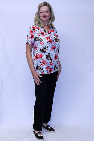 Two Flowers Short Sleeve Two Piece Pants Set