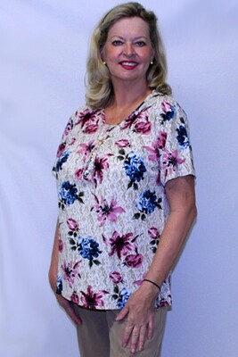 Two Flower Short Sleeve Pullover Top