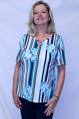 Striped Pattern Short Sleeve Pullover Top