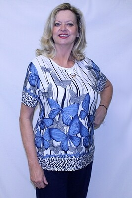 Butterfly Print Short Sleeve Pullover Top