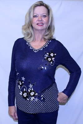 Subtle Flowery Long Sleeve Pullover Top