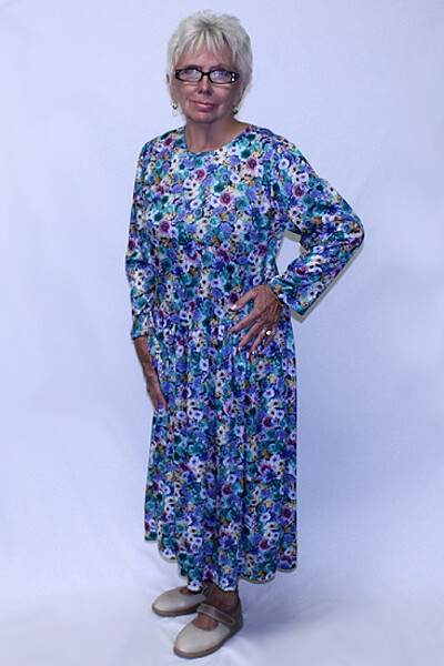 Back Opening Long Sleeve Polyester Dress
