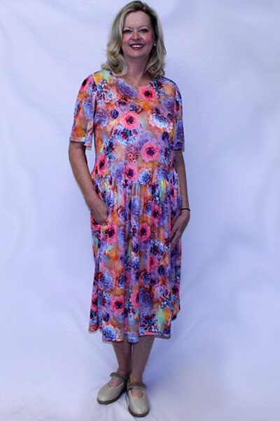 Back Opening Short Sleeve Polyester Dress