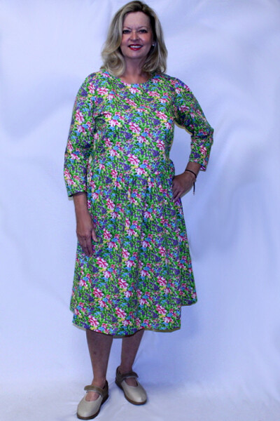 Back Opening Long Sleeve Cotton/Polyester Dress