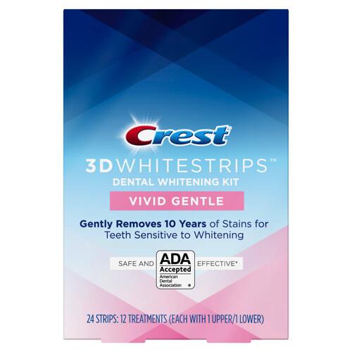 Crest 3D Whitestrips VIVID GENTLE, 12 Treatments لصقات كرست