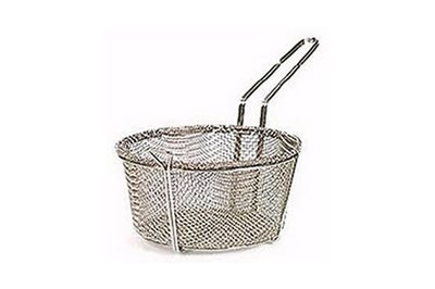 51-260                        11-1/2 Inch x 5-3/8 Inch Nickle Mesh Wire Basket With Loop