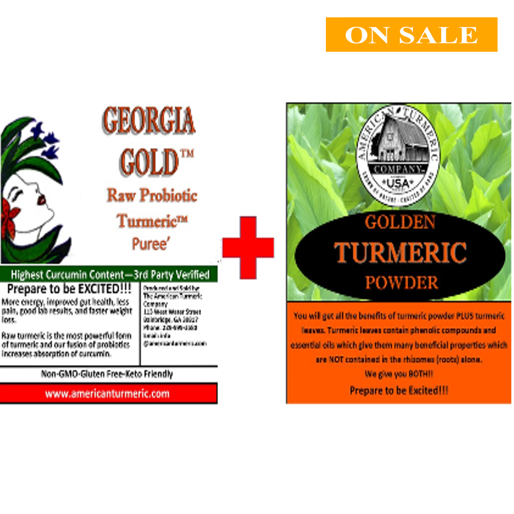 COMBO SPECIAL - Georgia Gold Turmeric Puree (Original)  and Turmeric Powder - Keep Refrigerated for Long Shelf Life-Now in a 10 oz jar