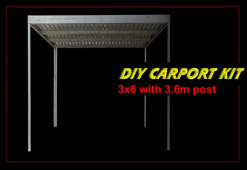 3m x 6m x 3m galvanised carport kit with 3.6m post