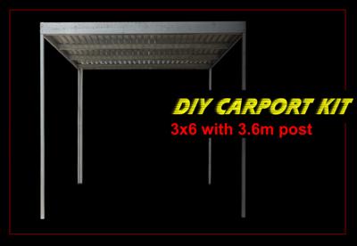 3m x 6m galvanised carport kit with 3.6m post