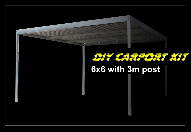 6m x 6m galvanized carport kit with 3m post