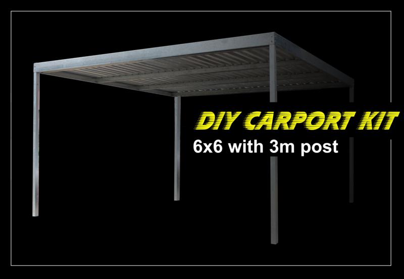 6m x 6m x 2.4m galvanized carport kit with 3m post