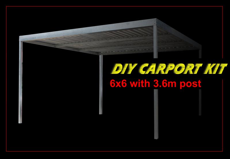 6m x 6m x 3m galvanised carport kit with 3.6m post