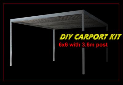 6m x 6m galvanised carport kit with 3.6m post