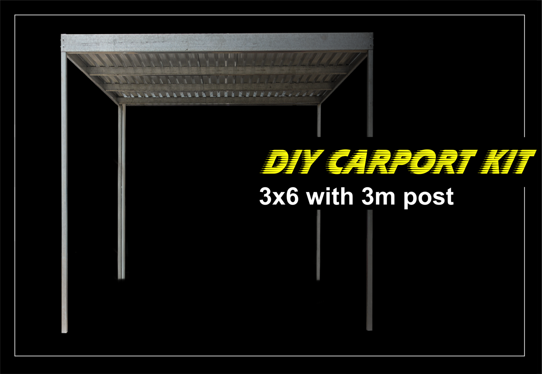 3m x 6m galvanized carport kit with 3m post
