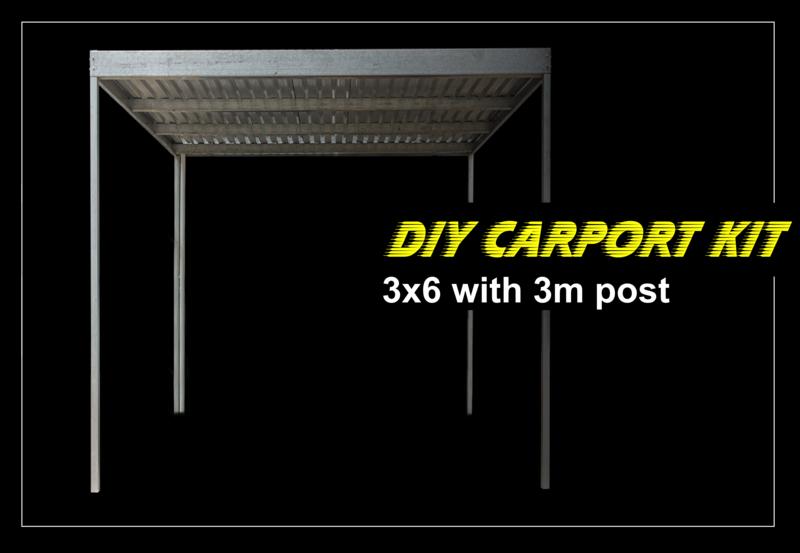 3m x 6m x 2.4m galvanized carport kit with 3m post