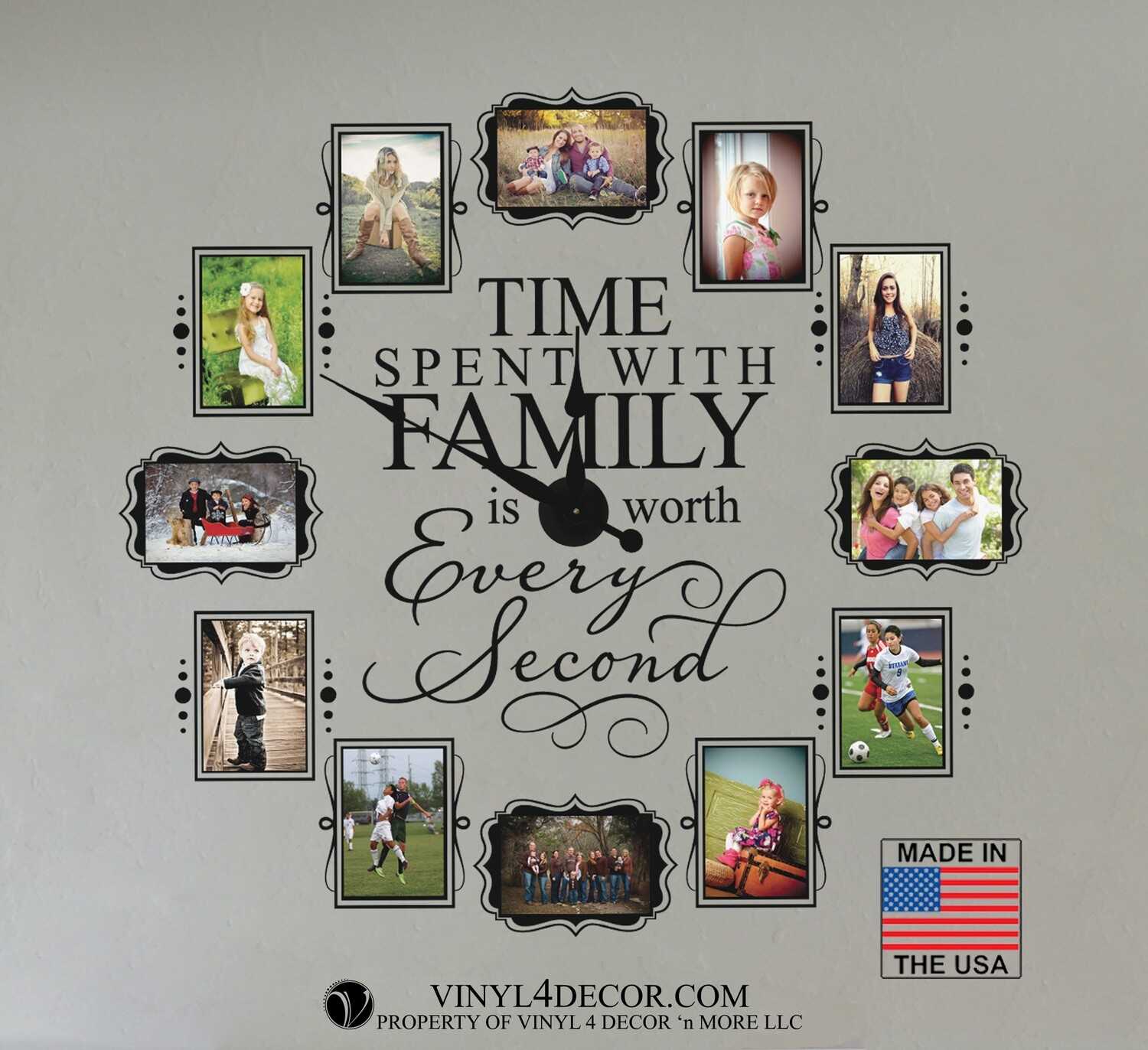 CL205 Family Photo Vinyl Wall Clock (USA Mechanism)
