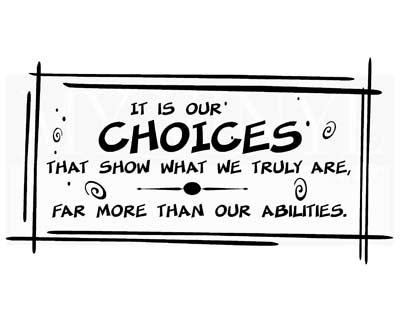 CT025 It is our choices that show what we truly are decal vinyl stickers