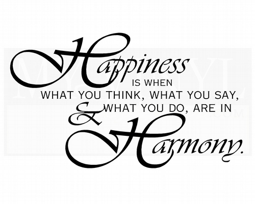 HJ004 Happiness is when what you think, what you say, and what you do, are in harmony