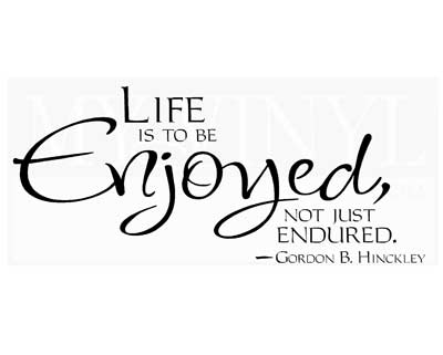 L003 Life is to be enjoyed, not just endured.