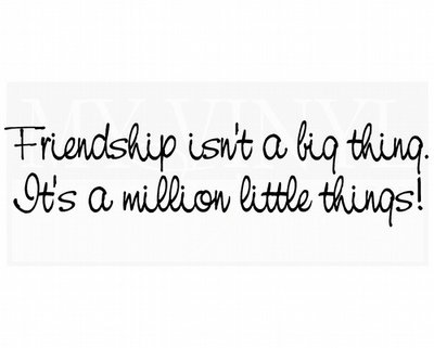 FR014 Friendship isn't a big thing It's a million little things