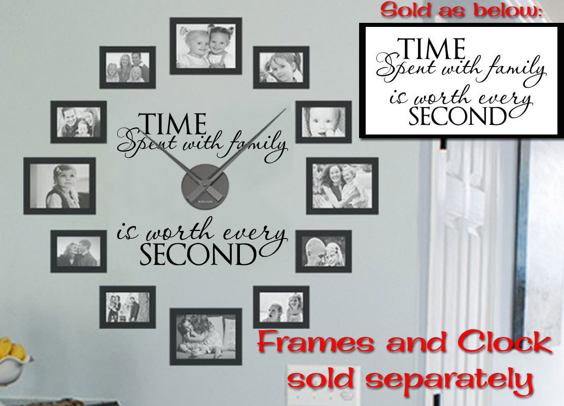 CLEARANCE Time spent with family clock version 21 x 11 black