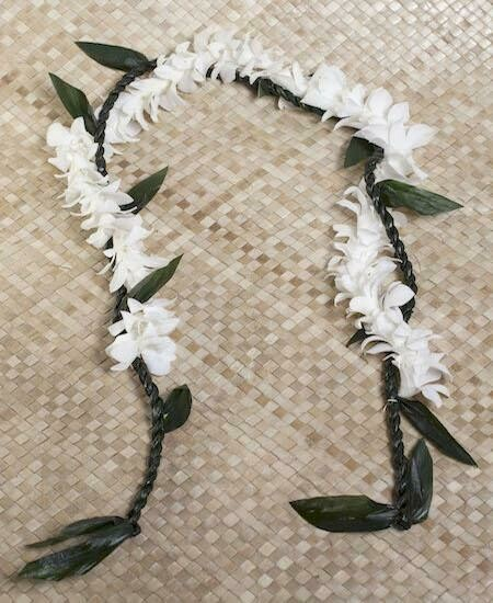 TI LEAF LEI WITH ORCHID WRAP (3 Color Options)
