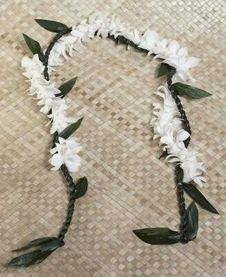 TI LEAF LEI WITH ORCHID WRAP (3 Color Options) - (BULK 5 PACK) FREE SHIPPING