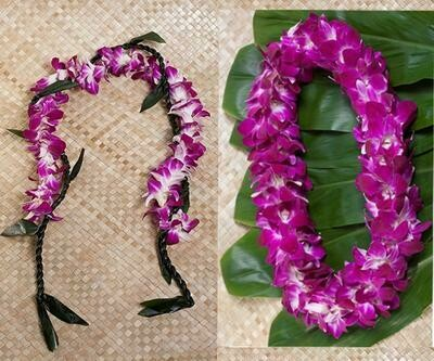 GRADUATION LEI 2 PACK (TI LEAF WITH ORCHID)