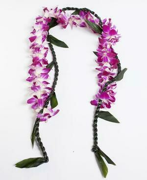 TI LEAF LEI WITH PURPLE ORCHID WRAP