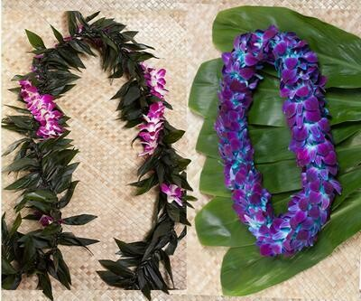GRADUATION LEI 2 PACK  (MAILE STYLE WITH ORCHID)