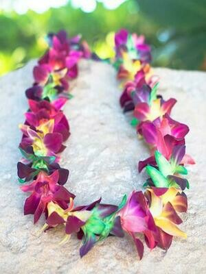 DYED GREEN + PINK + YELLOW ON BOM ORCHID LEI (SINGLE)