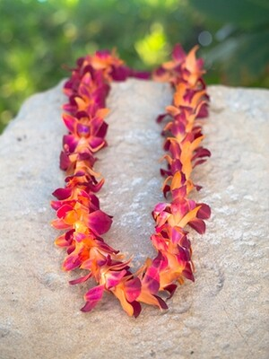 DYED ORANGE  ON PURPLE ORCHID LEI (SINGLE)