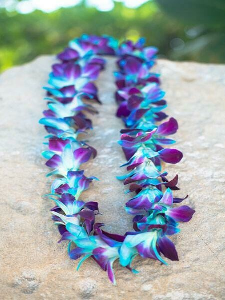 DYED BLUE ON PURPLE ORCHID LEI (SINGLE)