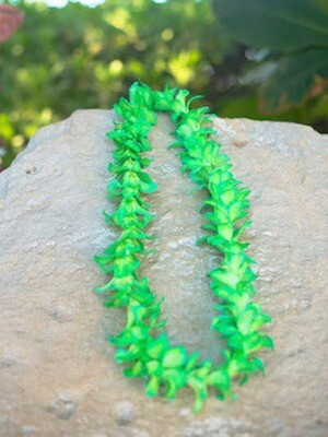 DYED GREEN ON WHITE ORCHID LEI (SINGLE)